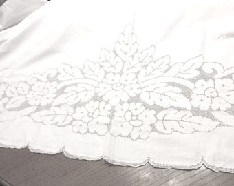 Farmhouse Bedspread Open Work Lace Handmade Bed and Breakfast Summertime