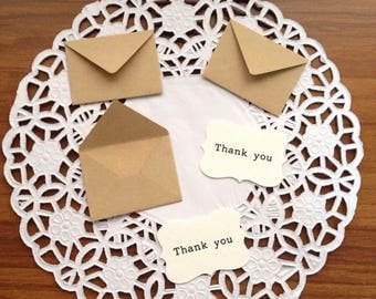 20 sets of 1.5 inch Tiny Thank you note card with envelope,mini envelope