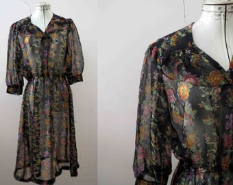 70s Sheer Black Floral Tea Dress Small