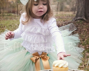 Mint Gold Cake Smash Tutu, 1st Birthday Outfit, Mint First Birthday Tutu, Mint Baby Tutu, Gold Newborn Tutu, 1st Birthday Tutu, Toddler Tutu