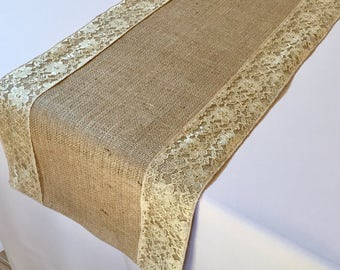 Burlap And Lace Table Runner - Gold Lace - Select A Size - More Colors Available