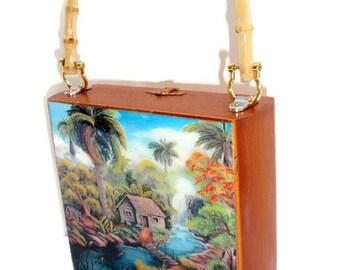 "Fine Art, Cigar Box Purse w/ ""Mi Tierra"" painting on top. Five Handbags to Choose"
