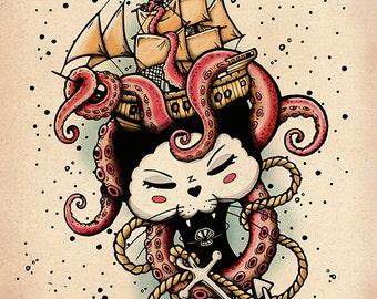 Under the Sea Black Cat Print Octopus ship anchor Black Kitty Cat Ganbatte Black Cats artwork