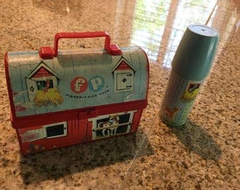 Fisher Price Toy vintage lunch box 1962 with thermos