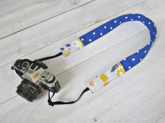 Cobalt Blue Camera Strap | Royal Blue Floral DSLR Strap