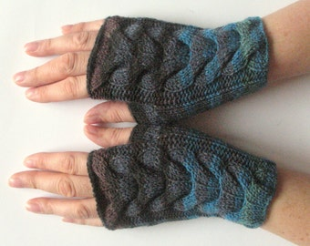 Fingerless Gloves Blue Brown Black Green wrist warmers