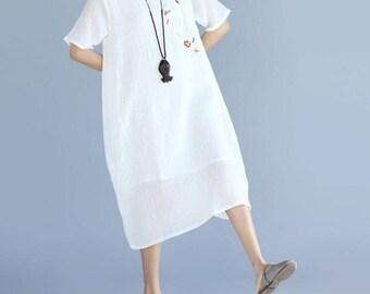 Light blue/ white  Leisure double cotton and linen short sleeves long dress fold summer dress
