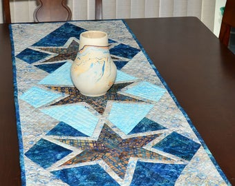 Star Table Runner - Stary Night Shades of Blue Quilted Table Runner