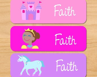 Girls Princess (Dark Skin) Waterproof Name Labels, Personalized Fairytale Daycare Labels, Princess Baby Bottle Labels, Dishwasher Safe