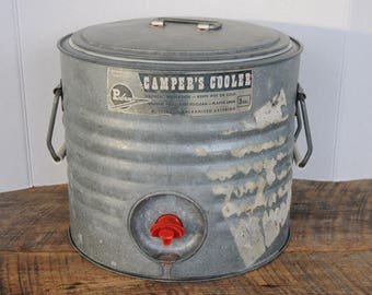 Vintage Poloran 3 Quart Round Galvanized Outer Cooler with Spigot Hot or Cold Campers Cooler