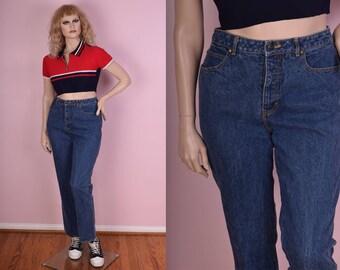 70s 80s Blue High Waisted Jeans/ 30 Waist/ 1970s/ 1980s