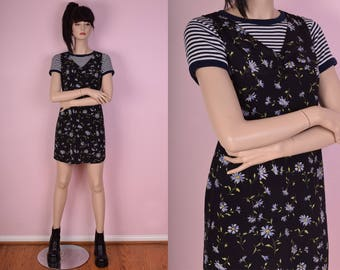 90s Floral Print Dress/ Small/ 1990s/ Tank/ Sleeveless