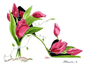 Dark Pink Tulips with Vine Flower Shoe Print -   Signed Free Shipping Wall Art
