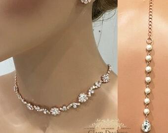 Rose Gold Bridal Jewelry Set, Handmade Crystal Wedding Jewelry, Backdrop Chocker Earring Jewelry, Dainty Bridesmaid Gift Set