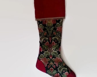 "Upcycled Christmas Stocking, Gold and Burgundy Floral Print 17"" Long Eco Friendly Holiday Decor"