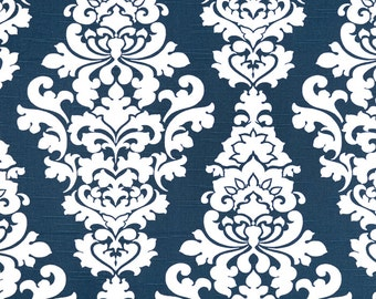 Navy Blue White Berlin Damask Curtains  Rod Pocket  63 72 84 90 96 108 or 120 Long by 24 or 50 Wide