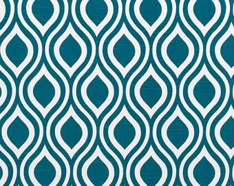 Blue White Aquarius Curtains Geometric Nicole - Rod Rocket  63 72 84 90 96 108 120 Long x 25 or 50 Wide