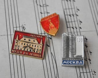 "Set of 3 Vintage Soviet Russian badges.""Moscow"""