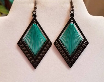 SALE Diamond Turquoise and Black Thread Earrings Southwestern, Native, Boho, Hippie, Hipster, Gift, Mother, Sweet Heart, Ready to Ship