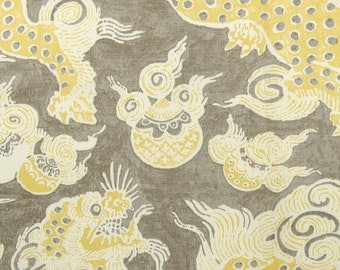 Two 96 x 50 LINED Custom Curtain Panels - Waverly Williamsburg Dunmore Dragon Chinoiserie -  Sepia /Yellow