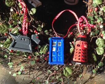 3 Doctor Who christmas tree ornaments Tardis Dalek K9