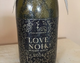 Wine bottle lights/ gold bottle lights/ love noir bottle light/ romantic heart stopper/ black and gold bottle/ glitter wedding light / 2014