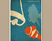 Pixar Finding Nemo Vintage Minimalist Movie Poster Print