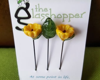 Lampwork Glass Flower Counting Pins/Stitch Markers/Fairy Garden Flowers - Yellow
