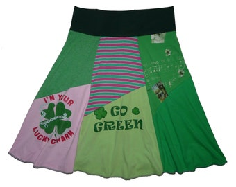 Saint Patrick's Day Women's Medium 8 10 Hippie Skirt upcycled t-shirt clothing from Twinkle
