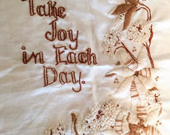 Vintage Needlepoint Take Joy In Each Day