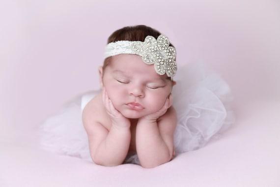 Rhinestone Applique Headband on Stretch Lace, Newborn Photo Prop, Triangle, bebe foto, wedding, bride, by Lil Miss Sweet Pea