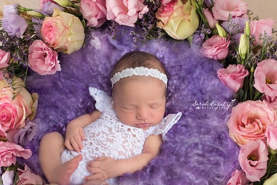White Embroidered Rose Design Newborn Headband for newborn shoots, Christening, Baptism, Baby Shower Gift, by Lil Miss Sweet Pea