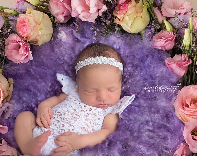 Featured listing image: White Embroidered Rose Design Newborn Headband for newborn shoots, Christening, Baptism, Baby Shower Gift, by Lil Miss Sweet Pea