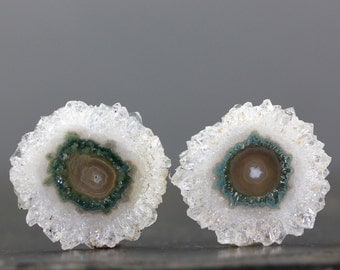 CLEARANCE 29mm Solar Quartz Flower Stalactite Slice Pair Polished Crystal Earring Set Healing Protective Stone Jewelry Designs (CA6299)