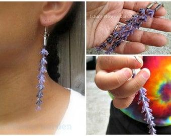 Lavender blossom earrings, realistic real looking, lavender jewelry, lavender accessories, purple flower earrings