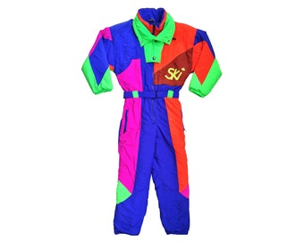 Extreme 80s Neon SKI Quad Color Block Snowsuit - S / M
