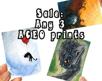 Sale: Set of 3 Prints, ACEO Art Cards, Your Choice, Custom Prints, Any Image, Choose Your Own, Discount Art, Animal Illustration