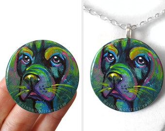 Bloodhound Art, Dog Painting, Memorial Necklace, Pet Portrait, Rainbow Jewelry, Hand Painted Wood Pendant, Dog Lover Keepsake Gift for Her