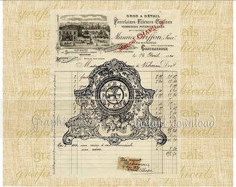 Clock French receipt instant clip art Digital download for iron on transfer to fabric papercraft decoupage pillows tote bags cards No. 2338