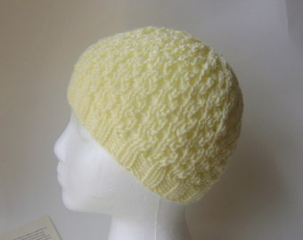 Knit Lace Beanie, Lace Hat for Women in Pastel Yellow Butter Other Colors Available Lightweight Fall Autumn Hat