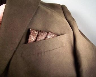 Silk Pocket Square,Brown Pure Silk Handkerchief, Mens Traditional Accessory