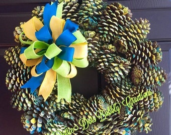 Hand Painted Pine Cone Wreath, Pine Cone Wreath, Colored Pinecone Wreath (SAMPLE )