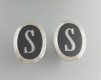 Initial Cufflinks Letter S Cufflinks Monogram S Cuff Links Men's Jewelry Accessories Gifts