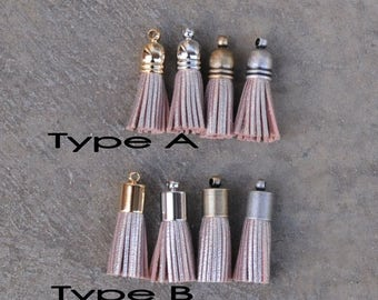 4 Metallic Champagne Gold (B-Light Peach tone) Mini Cowhide Leather TASSELS in 4-Color Plated Caps (Type A or B)