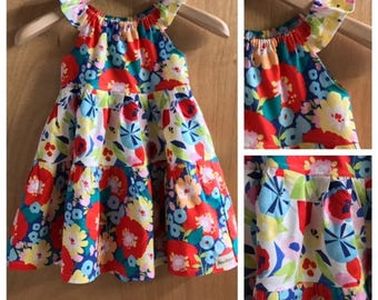 Cotton Flowered Peasant Style Sundress, girls size 5