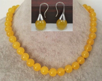 jade set- 10mm yellow jade necklace & earrings set, free shipping