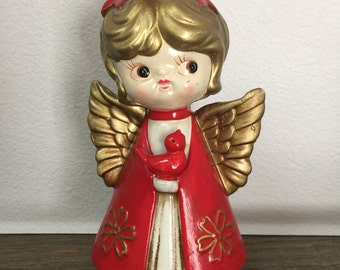 Vintage Christmas red angel with bird