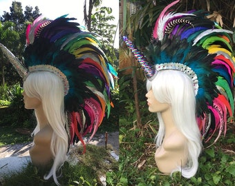 "Convertible Unicorn Feather Mohawk Headdress  - ""Hokulani"""