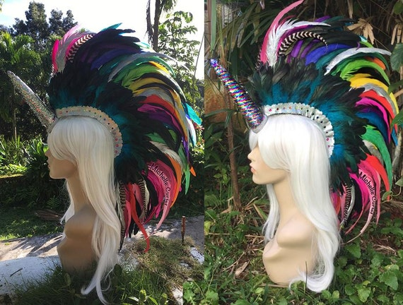 "Convertible Unicorn Feather Mohawk Headdress  - ""Hokulani"""