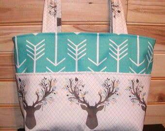READY to ship Diaper bag, handbag, purse, book..Stag Forest N Teal Arrows..Match your carseat canopy(see fashionfairytales).